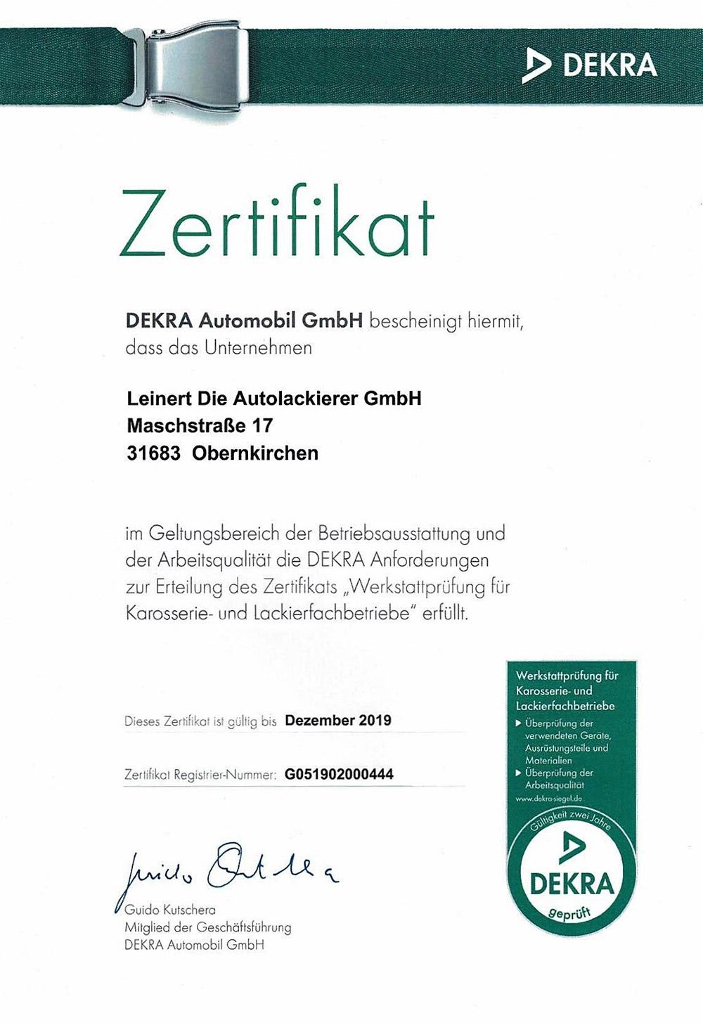 Zertifikat der DEKRA - Arbeitsqualität Werkstattprüfung für Karosserie- und Lackierfachbetriebe