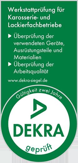 DEKRA-Siegel - Werkstattprüfung für Karosserie- und Lackierfachbetriebe für Leinert - Die Autolackierer GmbH
